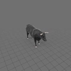 Stylized black bull standing