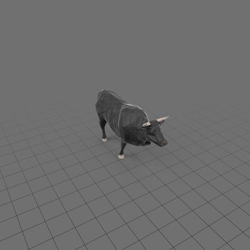 Stylized black bull running