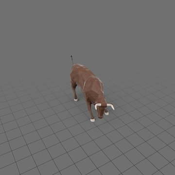 Stylized brown bull charging