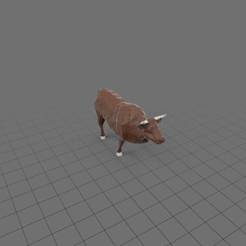 Stylized brown bull  running