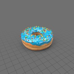 Blue donut with sprinkles