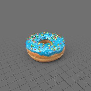 Blue donut with sprinkles