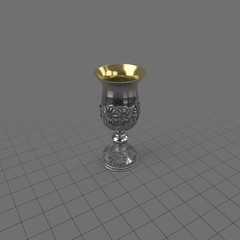 Antique metal floral goblet