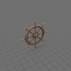 Old wooden ship wheel