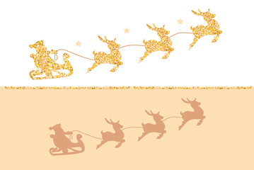 Silhouette of Santa Claus riding in a sleigh with reindeer. Gold glitter on white background.