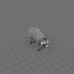 Stylized raccoon standing
