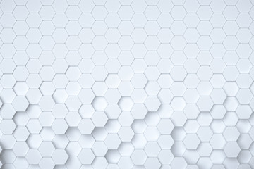 White hexagonal abstract 3d background