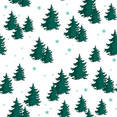 Seamless pattern with colorful fir trees. Vector illustration