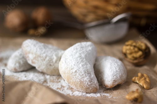 Vanilkipferl Vanilla Crescents Traditional Christmas Cookies In