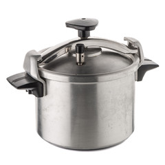Used pressure cooker for cooking over white background.