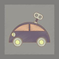flat shading style icon Kids car with key