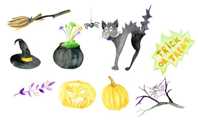 Halloween watercolor clip art, spooky, creepy, holiday, party, celebration, witch hat, pumpkin, broomstick, ghost, candle, pot, poison, cat, leaves, branches.