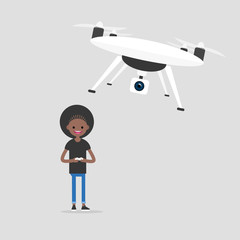 New technologies. Young black girl controlling a drone with a remote controller / flat editable vector illustration, clip art