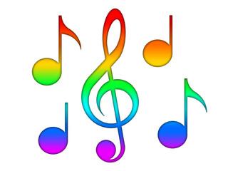 Multicolor notes and treble clef