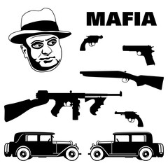 Mafia and gangster set. 1920 - 1930 years crime related icons. Mafia boss, revolver, pistol, sawed off shotgun, submachine gun and cars. Flat design elements.