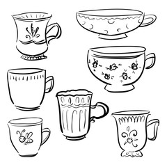 Collection Doodle vector different cups