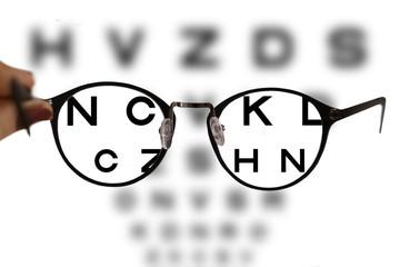 b1417933608 myopia correction glasses on the eye chart letters background