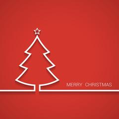 Christmas tree outline. Christmas greeting card. Vector