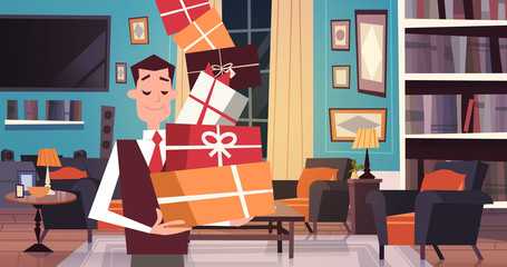 Man Holding Pile Of Gift Boxes Walking Through Living Room At Home Holiday Presents Concept Flat Vector Illustration