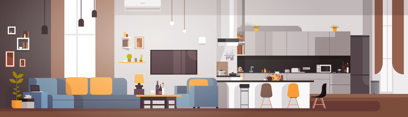 Modern Apartment Interior With Living Room And Kitchen Horizontal Banner Flat Vector Illustration