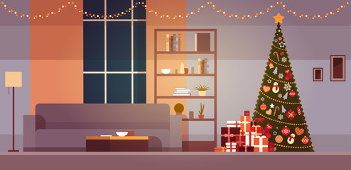Modern Living Room With Winter Holidays Decorations Christmas Tree And Garlands Home Interior Flat Vector Illustration