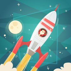 Santa Claus Flying In Space Rocket In Sky With Moon, Merry Christmas And Happy New Year Banner Flat Vector Illustration