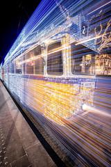 Illuminated Yellow Tram in Budapest