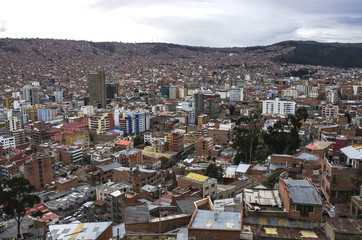 Panorama of City of La Paz Bolivia from Killi Killi Viewpoint