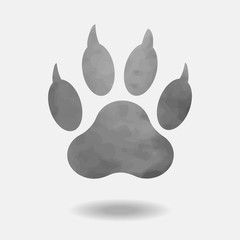 Trace paw of dog with shadow isolated on white background Vector.