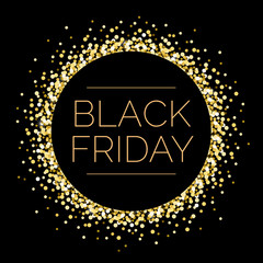 Black Friday Round Gold Sparkle Illustration 1