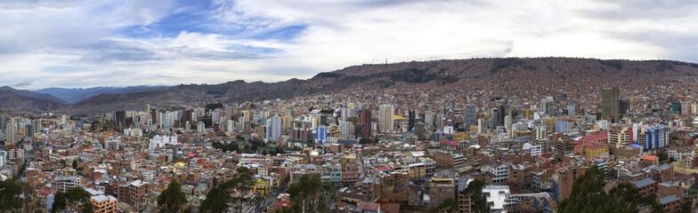 Panorama of City of La Paz Bolivia from Killi Killi Viewpoint