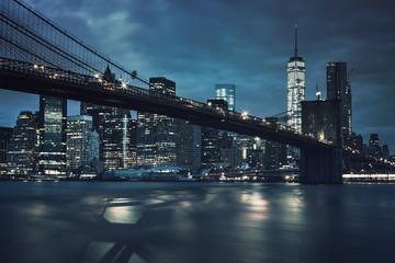 Printed kitchen splashbacks Brooklyn Bridge View of Brooklyn Bridge by night