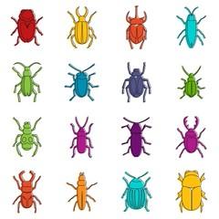 Bugs icons doodle set