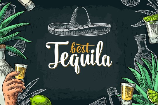 Poster with hand holding glass tequila