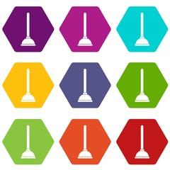 Toilet plunger icon set color hexahedron