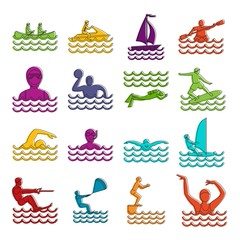 Water sport icons doodle set