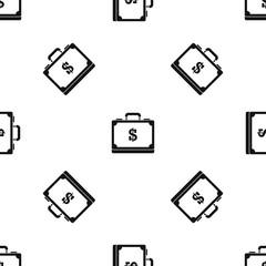 Briefcase full of money pattern seamless black
