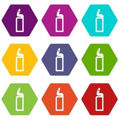 Plastic bottle of drain cleaner icon set color hexahedron