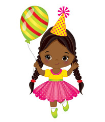 Vector Cute Little African American Girl with Balloon