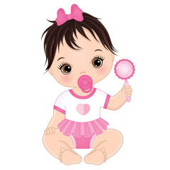 Vector Cute Baby Girl with Rattle