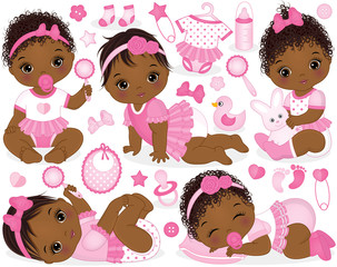 Vector Set with African American Baby Girls, Toys and Accessories
