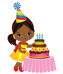 Vector Cute Little African American Girl  Blowing out Candles on Birthday Cake