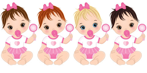 Vector Cute Baby Girls with Rattles and Various Hair Colors