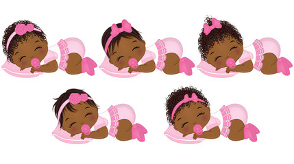 Vector Cute African American Baby Girls with Various Hairstyles