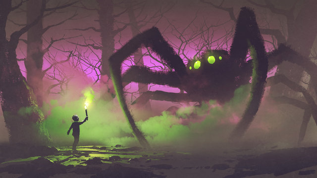 dark fantasy concept showing the boy with a torch facing giant spider in mysterious forest, digital art style, illustration painting