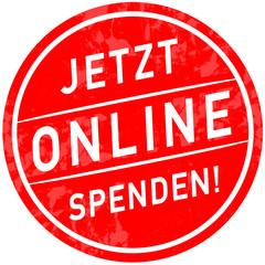 sbi20 SymbolButtonIcon sbi - Schrift: jetzt online spenden - menschlich / mithilfe - Zeichen / Stempel - rot icon g5618