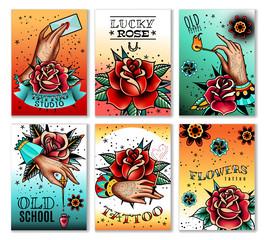 Old school tattoo cards