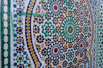 full frame shot of moroccan traditional pattern of zellige