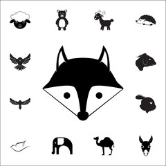 fox head icon. Set of animal icons. You can use in web or app icons