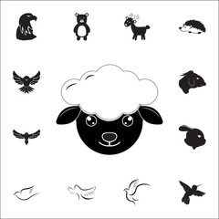 Sheep head or face icon. Set of animal icons. You can use in web or app icons
